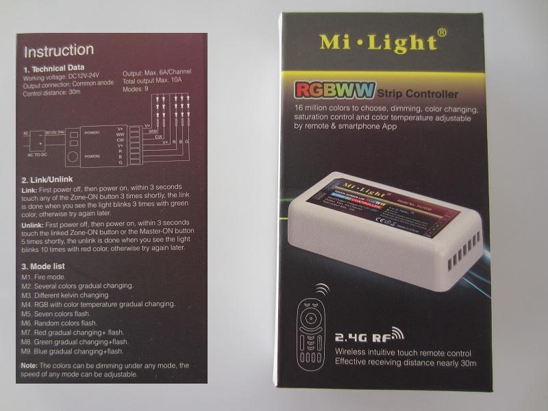 Mi-light rgb-cct 5x6A valdiklis LED juostai