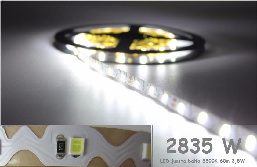 2835 LED juosta lanksti balta W 12V 60LEDm 3,8Wm