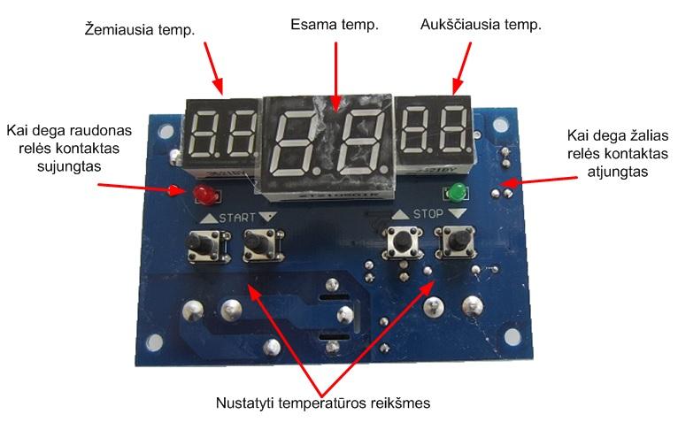 termoreguliatorius 6 skaiciu 12V 10A a