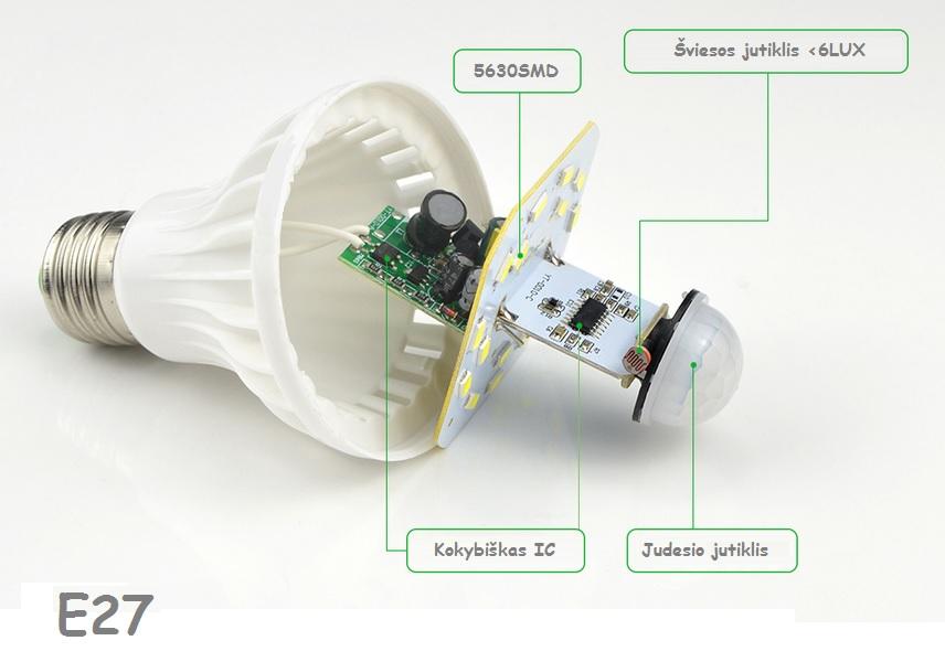 LED lemputė su judesio jutikliu 220V 9W