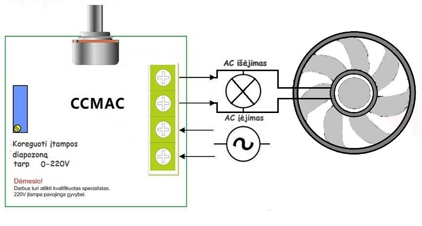 itampos reguliatorius ventiliatorio pajungimas