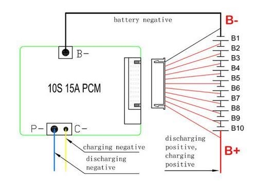 10S 36V 15A 50A Li-ion BMS